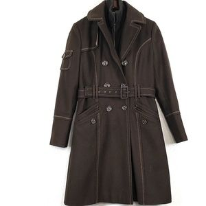 Jlo brown wool trench coat